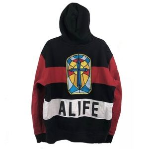 ALIFE Stained Glass Cross Hoodie Sweatshirt XL